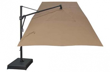 Sand beige rectangular garden umbrella with commercial grade frame ogni - Parasol excentre rectangulaire ...
