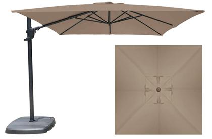 Parasol de jardin décentré carré 10 pieds Beige Taupe