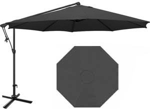 10 foot black octagonal offset garden umbrella by Treasure Garden