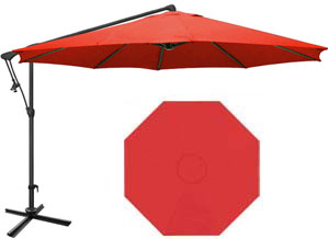 10 foot red octagonal offset garden umbrella