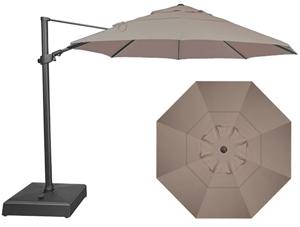Grand parasol déporté octogonal beige taupe 11 pieds