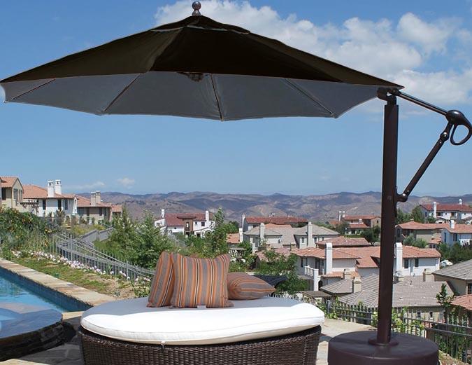 Parasol octogonal noir 11 pieds avec tissu Sunbrella