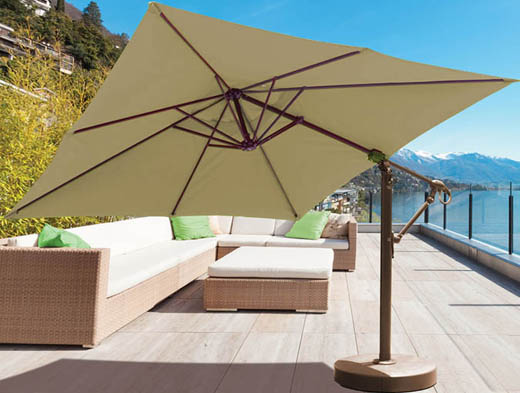 10 foot square cantilever patio umbrella with beige Sunbrella fabric