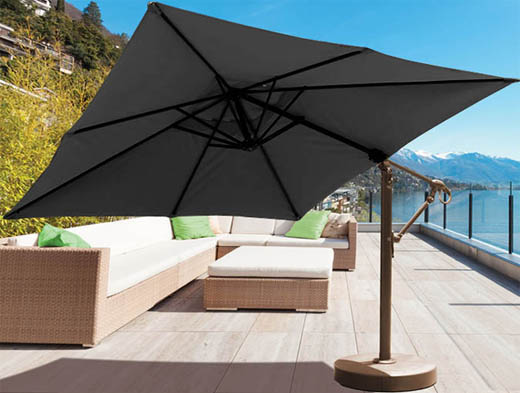 10 foot square cantilever patio umbrella with black Sunbrella fabric