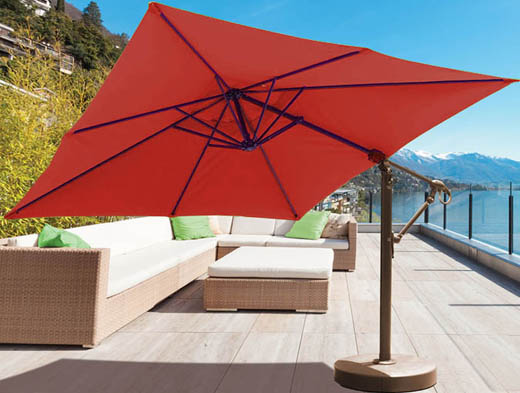 parasol carr d port de 10 pieds avec tissu sunbrella rouge ogni. Black Bedroom Furniture Sets. Home Design Ideas