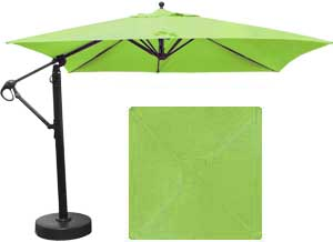 10 foot square offset patio umbrella with Lime Green Sunbrella fabric