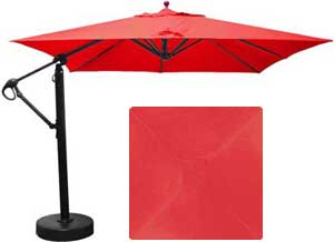 10 foot square cantilever patio umbrella with red Sunbrella fabric