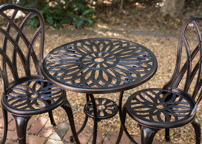 Versailles 3 piece Cast Aluminum Bistro table and 2 chair set