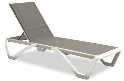 Chaise Longue Miami en résine blanche avec tissu gris
