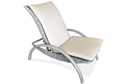 Chaise inclinable ajustable grise extérieur pour patio