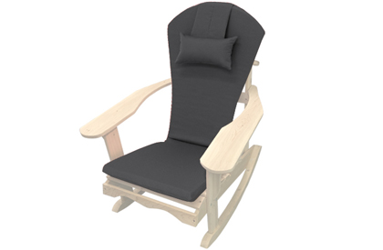Black Adirondack chair cushion with adjustable head rest pillow