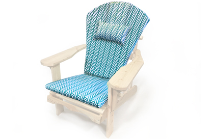 Turquoise and white Adirondack chair cushion with head rest pillow