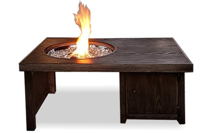 Brome brown aluminum wood grain fire table