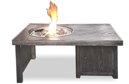 Brome grey aluminum wood grain fire table