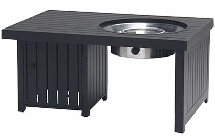 ​Black rectangular gas fire pit table