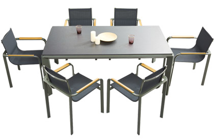 Aluminum outdoor dining table set with 6 sling fabric chairs