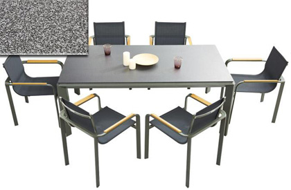 Stone textured top aluminum outdoor dining table set for 6