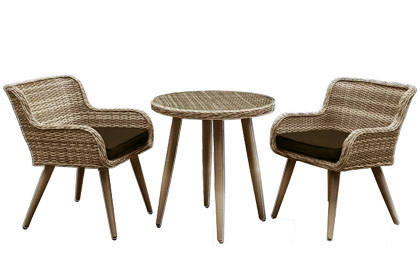 Olivia 3 piece light brown outdoor patio table and chair set