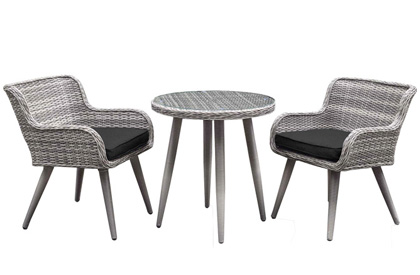 Olivia 3 piece grey outdoor patio table and chair set