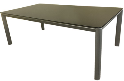 Palermo 6 place aluminum outdoor dining table with black tempered glass top