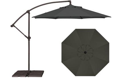 Parasol de jardin octogonal décentré 9 pieds noir AG3