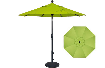 6 foot market style tilting Kiwi Green balcony patio umbrella by Treasure Garden