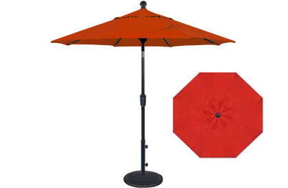 Parasol de balcon rouge 6 pieds octogonal inclinable​ de style marché Treasure Garden