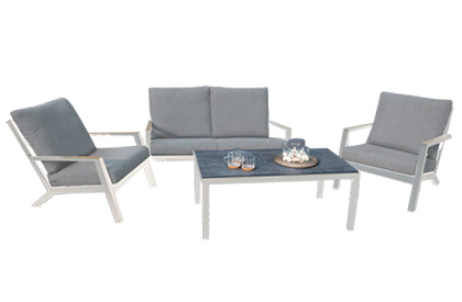 Laguna 4 piece modular aluminum outdoor furniture set with Olefin fabric cushions