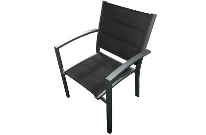 Roma dark grey aluminum outdoor chair with black waterproof sling fabric