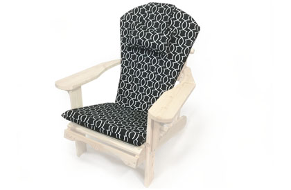 Black pattern Adirondack chair cushion with adjustable head rest pillow