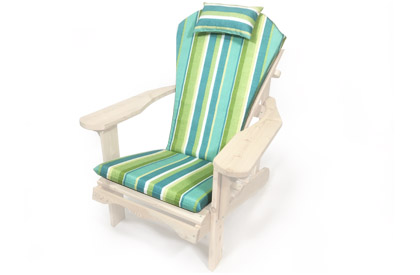 Green Adirondack chair cushion with adjustable head rest pillow