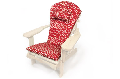 Red pattern Adirondack chair cushion with head rest pillow