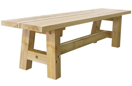 Canadian white cedar wood outdoor bench for dining table
