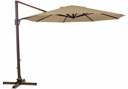 Beige Octagonal 335.28 cm (11 foot) Offset Treasure Garden Patio Cantilever Umbrella