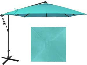 8½ foot blue patio umbrella with O'Bravia fabric by Treasure Garden