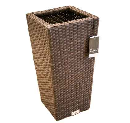 Modern durable synthetic wicker flower pot in medium format