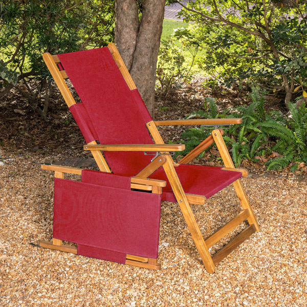 Fiji Folding Portable Wooden Long Beach Lounge Chair Ogni