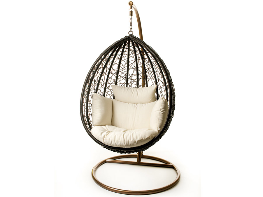 escape patio hanging chair suspended on steel frame for. Black Bedroom Furniture Sets. Home Design Ideas