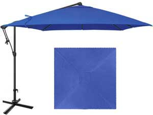 8½ dark blue patio umbrella with O'Bravia fabric by Treasure Garden
