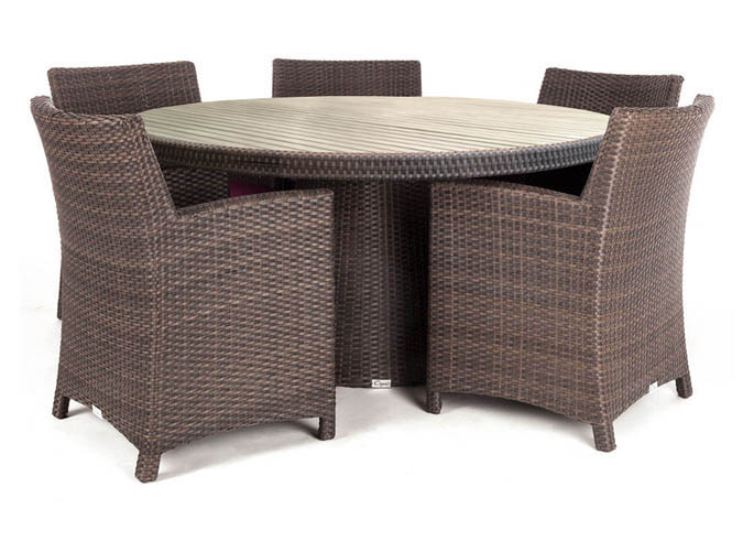 Delia Round Patio Dining Table Made With UV Treated Faux