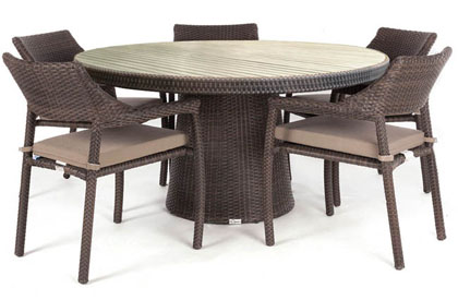 Delia round patio dining table made of simulated wicker and Teak