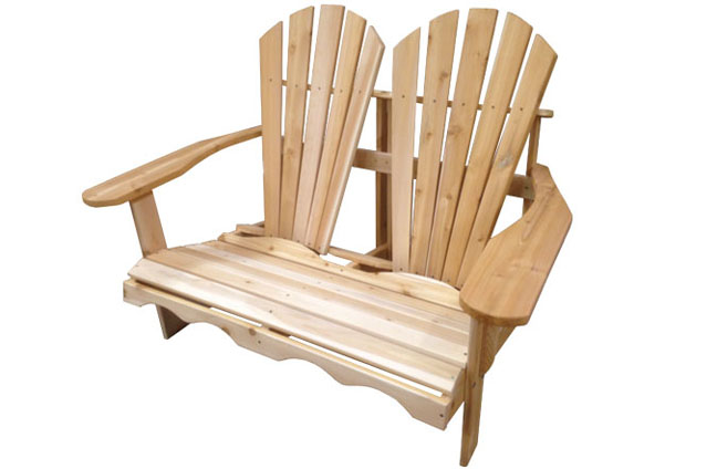Double adirondack chair for two people ogni for Chaise adirondack bois