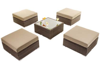 Quatro modern outdoor furniture seating set including table and 4 seats