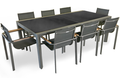 Diagonal extendable outdoor dining table and 8 chair set