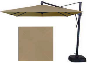 Beige garden umbrella in 10 foot square format made by Treasure Garden with Sunbrella fabric