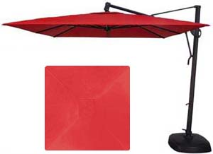 10 foot square red garden umbrella by Treasure Garden made with Sunbrella fabric