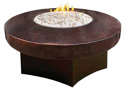 Hammered Copper gas fire pit table for outdoor furniture sets