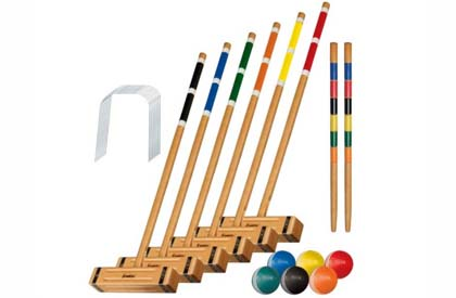 Wooden croquet game