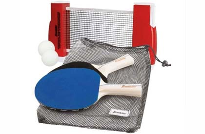 Portable retractable ping pong tennis net and paddles