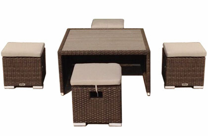 Patio coffee table and ottoman set